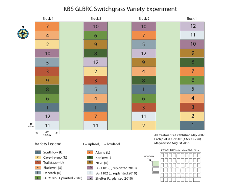 GLBRC Switchgrass Variety Experiment