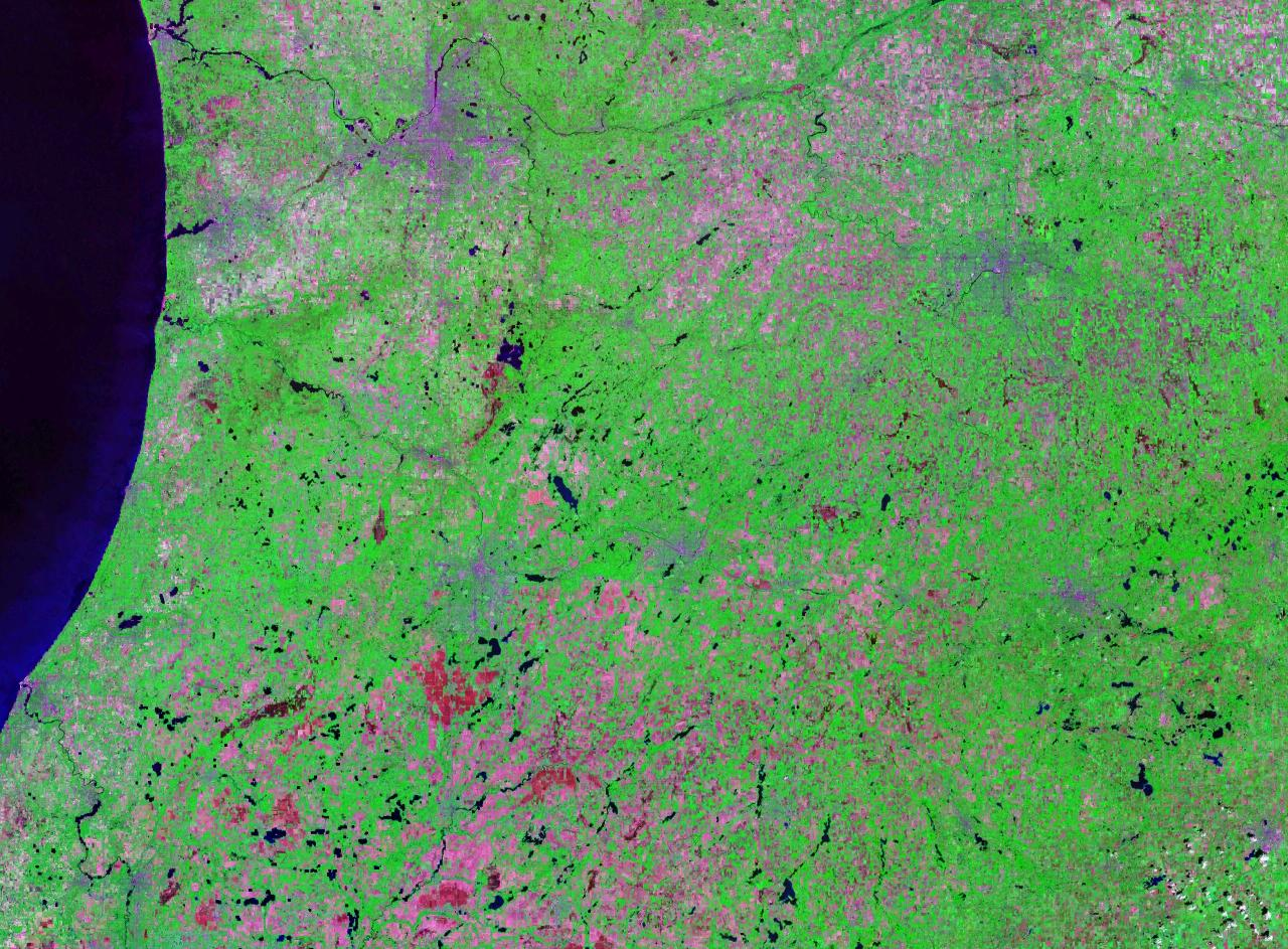 SW Michigan Landsat 7 GeoCover (psuedo color)