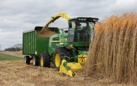 A forage harvester cuts Miscanthus giganteus on the KBS LTER / GLBRC site in November; Photo Credit: J.E. Doll, Michigan State University