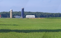 Hayfield and farmstead near the KBS LTER; Photo Credit: G.P. Robertson, Michigan State University