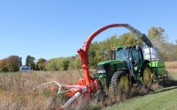 Harvesting an old field (early successional plot) on the KBS LTER / GLBRC biofuels experiment; Photo Credit: J.E. Doll, Michigan State University