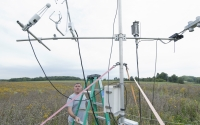 A carbon dioxide eddy flux tower at one of the GLBRC / KBS LTER native prairie sites (Marshall Farm) measures the net amount of CO2 captured by the ecosystem; Photo Credit: K.Stepnitz, Michigan State University