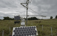 A carbon dioxide eddy flux tower at one of the GLBRC / KBS LTER sites (Marshall Farm) measures the net amount of CO2 captured by the ecosystem; Photo Credit: K.Stepnitz, Michigan State University