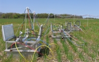 Automated greenhouse gas sampling chambers in a wheat field on the KBS LTER site; Photo Credit: J.E.Doll, Michigan State University