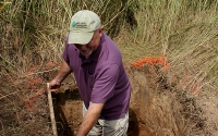 KBS LTER researcher Kevin Kahmark in a root excavation pit in a switchgrass plot, part of our sustainable biofuels research. Photo credit: J.E.Doll/KBS LTER