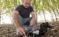 Field technician AJ Ozanich collects soil water samples in a hybrid poplar tree plot, part of the KBS LTER biofuels research program; Photo Credit: K.Stepnitz, Michigan State University