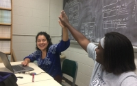 Research Experience for Undergraduates students Julie Barrios and Carlneshia Johnson in the Hamilton Lab working on data analysis. Photo credit: KBS LTER
