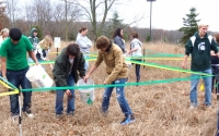 Olivet high school students plant native species in their LTER Schoolyard biofuel experiment plots; Photo Credit: T.Getty, Michigan State University