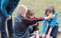 Harper Creek Beadle Lake elementary students learn about soil with GK-12 graduate student Alycia Reynolds Lackey, part of the KBS LTER K-12 Partnership; Photo Credit: T.Getty, Michigan State University