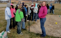 Harper Creek middle school students prepare to plant native species with GK-12 graduate student Alycia Reynolds Lackey, part of the KBS LTER K-12 Partnership