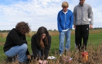 Kalamazoo Math and Science Center high school students collect greenhouse gas samples on the KBS LTER site; Photo Credit: J.E.Doll, Michigan State University
