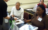 LTER graduate student Leila Desotelle teaches about soil quality at a K-12 Partnership workshop; Photo Credit: T.Getty, Michigan State University