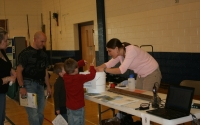 KBS LTER Education & Outreach Coordinator Julie Doll research on greenhouse gases at a Plainwell Middle School Science Night; Photo Credit: M.A.Doll