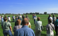 KBS LTER researcher Phil Robertson gives a field tour for agricultural professionals; Photo Credit: KBS LTER