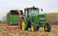 Harvesting corn stover on the KBS LTER biofuel plots in November; Photo Credit: J.E. Doll, Michigan State University