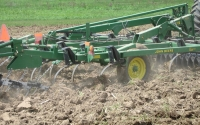 A soil finisher prepares the ground for planting on the KBS LTER site; Photo Credit: J.Simmons, Michigan State University