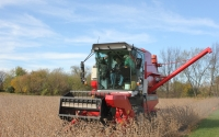 Agronomic manager Joe Simmons uses a plot combine to estimate soybean yields on the KBS LTER biofuels experiment; Photo Credit: J.E.Doll, Michigan State University