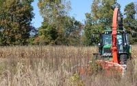 Harvesting the old field (early successional) plot on the KBS LTER biofuels research site; Photo Credit: J.E. Doll, Michigan State University