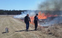 The spring burn of T7 plots in April 2019; Photo Credit: Y.J. Su, Michigan State University