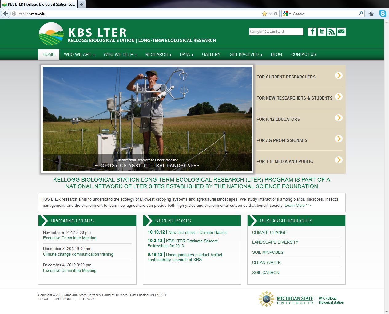 Newly redesigned KBS LTER website