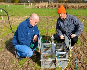 Kevin Kahmark and Sven Bohm screen greenhouse gas data collected from the KBS LTER field experiments in Michigan.