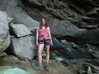 KBS LTER undergraduate researcher Monica Cooper rock climbs at the Red River Gorge in Kentucky.
