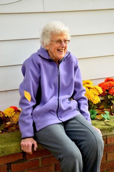 Mrs. Marshall on her farm near Hickory Corners, MI; Photo credit, Bill Krasean, KBS Volunteer