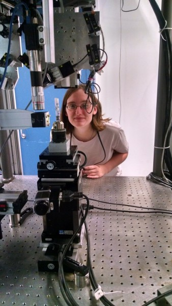 Michelle Quigley setting up an aggregate to be scanned at Argonne National Lab, Advanced Photon Source.