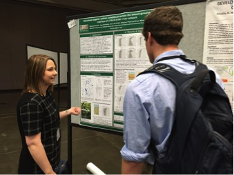 Sydney Ruhala presenting her research at the 2016 Society for Freshwater Science Annual Meeting in Sacramento, California. She received the award for Best Poster in Basic Research. Photo Credit: Dr. Jay Zarnetske.