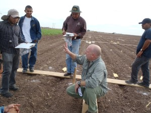 """Kevin teaching Greenhouse gas techniques and sampling strategies to CIMMYT researchers in the Yaqui Valley"" Photo Credit: Kevin Kahmark"