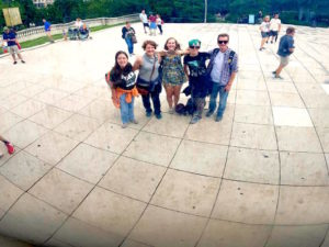 Students taking selfie at Chicago Bean