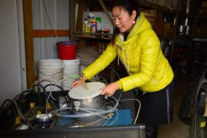 Dr. Ying Zhang working with one of the chambers used to measure nitric oxide emissions.